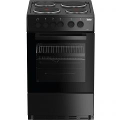 Beko AS530K Beko As530k 50Cm Electric Cooker With Solid Plate Hob - Black - A Rated