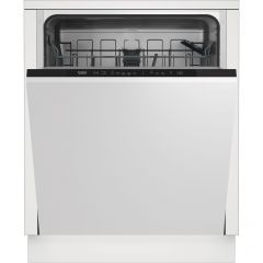 Beko DIN15R20 Fully Integrated Standard Dishwasher - Silver Control Panel With Fixed Door Fixing Kit