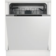 Beko DIN16430 Fully Integrated Standard Dishwasher - Stainless Steel / Black Control Panel With Fixe