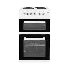 Beko KD531AW 50Cm Twin Cavity Electric Cooker With Solid Plate Hob