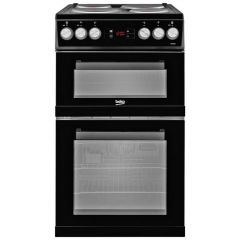 Beko KDV555AK Beko Kdv555ak 50Cm Electric Cooker With Solid Plate Hob - Black - A/A Rated