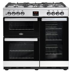 Belling 444444070 Belling Cookcentre90dft 90Cm Dual Fuel Range Cooker - Stainless Steel - A/A Rated
