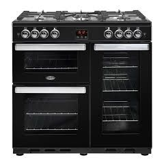 Belling COOK90GBK 444444077 Belling Cookcentre90g 90Cm Gas Range Cooker With Electric Fan Oven - Bla