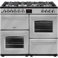 Belling FARM100DF STA 444444134 100Cm Farmhouse Dual Fuel Range Cooker Silver A/A Rated