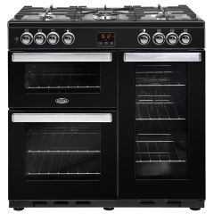 Belling COOK90DFTBK 444444071 Belling Cookcentre 90Cm Wide Range Cooker Duel Fuel In Black
