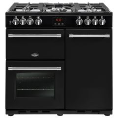 Belling FARM90DFTBLK 444444121 Belling Farmhouse 90Cm Range Cooker In Duel Fuel In Black