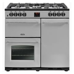 Belling FARM90DFTSIL 444444122 Belling Farmhouse 90Cm Range Cooker Duel Fuel In Silver