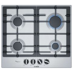 Bosch PCP6A5B90 60Cm Gas Hob In Stainless Steel With Cast Iron Pan Supports