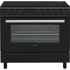 Electra SCR90B Electra Scr90b 90Cm Electric Range Cooker With Ceramic Hob - Black - A Rated