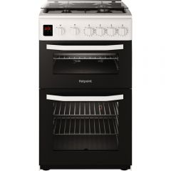 Hotpoint HD5G00CCW Hotpoint Twin Cavity Gas Cooker In White, 50Cm With A Lid