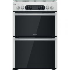 Hotpoint HD67G8CCX Hotpoint Hd67g8ccx 60Cm Dual Fuel Cooker In St/Steel Double Oven Gas Hob
