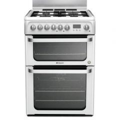 Hotpoint HUD61PS 60Cm Duel Fuel Cooker In White