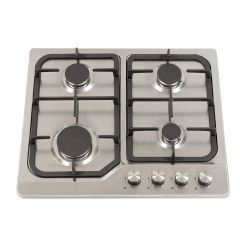 Montpellier GH61X Montpellier 4 Burner Gas Hob In Stainless Steel With Cast Iron Pan Supports