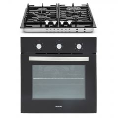 Montpellier SFGP12 Single Electric Oven And Gas 4 Burner Hob With Cast Iron Supports