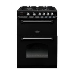 Rangemaster CLAS60NGFBL/C Classic 60 Gas Double Oven In Black/Chrome
