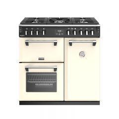 Stoves R/DEL S900GCR 444444904 Stoves Richmond Deluxe 900Mm Gas Range Cooker In Cream With Zeus Blue