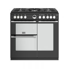Stoves S/DEL S900GBLK 444444935 Stoves Sterling Deluxe 900Mm Gas Range Cooker In Black With Titan Ov